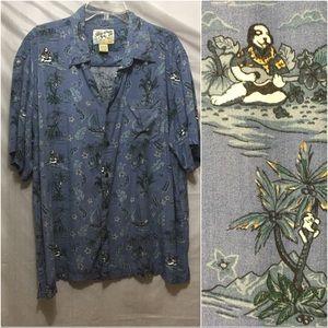 Retro big dog tropical casual shirt men's XL